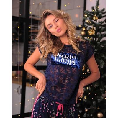 Новый год к нам мчится 🎄🎉 ⠀ И если вы планируете домашнюю вечеринку, то наш новый костюм станет отличной находкой на все случаи жизни✨ ⠀ Кружевная футболка с бархатной вставкой и штаны с цветочным принтом очень сочетаются между собой 👌 ⠀ Ну а благородный синий цвет, подойдёт всем без исключения😉х ⠀ Порадуйте себя и своим близким Для заказа переходите по ссылке в шапке профиля👇 ⠀ 💰Цена: 3249 ₽ ✂Размеры: 44/46/48/50 🏷️Материал: 60% нейлон 40% эластан/95% хлопок 5% эластан 🔸Модель:  559275 (для удобного поиска на сайте) ⠀ ______ ⠀ 🛍 Магазин: 📍ТЦ